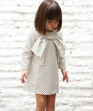 How to wear: white polka dot dress