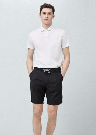 a7ac3ee12 Men's White Polo, Black Shorts | Men's Fashion | Lookastic.com
