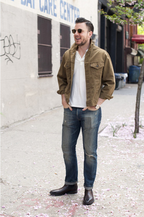 Men's White Polo, Blue Jeans, Brown Leather Chelsea Boots | Men's ...
