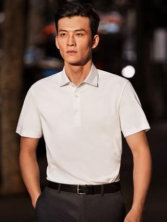 Men S White Polo Charcoal Dress Pants Black Leather Belt Men S