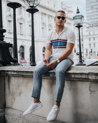 How to wear: white horizontal striped polo, grey dress pants, white low top sneakers, silver watch