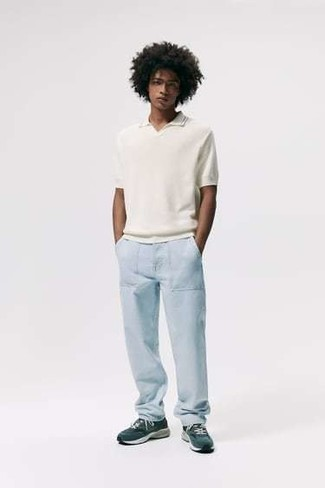 White and Black T-shirt with Polo Outfits For Men: Demonstrate your sartorial-savvy side by opting for a white and black t-shirt and light blue chinos. A pair of teal athletic shoes is a great choice to complement this ensemble.