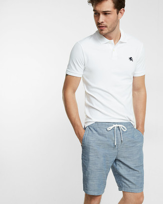 How to wear: white polo, light blue shorts
