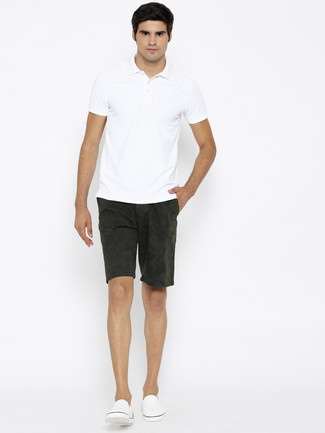 5f7775d5f Men's White Polo, Olive Floral Shorts, White Slip-on Sneakers ...