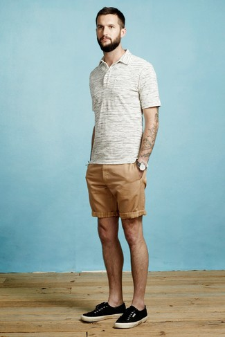 How to wear: white horizontal striped polo, tan shorts, black canvas low top sneakers, charcoal canvas watch