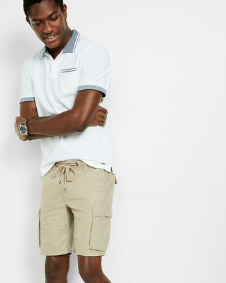 a0eb6979a Men's White Polo, Tan Shorts | Men's Fashion | Lookastic.com