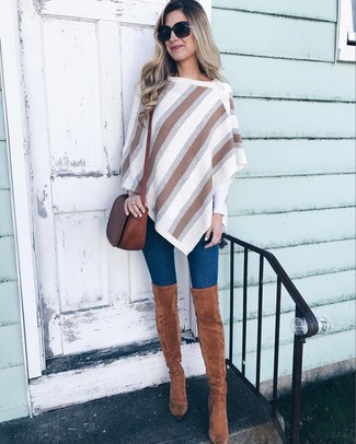 570999df4aa ... Women s White Vertical Striped Poncho
