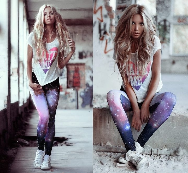 Marry A White Graphic Crew Neck Tee With Multi Colored Print Leggings For Casual