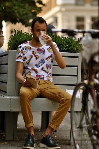 A white print crew-neck tee with mustard chino pants has become an essential combo for many style-conscious men. This one will play especially nice come summer.