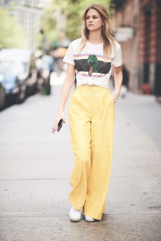 How to Wear Yellow Wide Leg Pants (33 looks   outfits)  dcecb741a