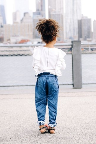 How to wear: white ruffle long sleeve shirt, blue trousers, black sandals