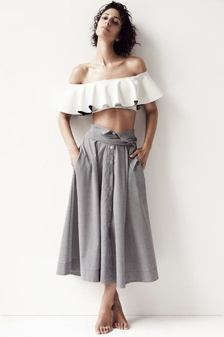 How to wear: white ruffle off shoulder top, grey pleated midi skirt