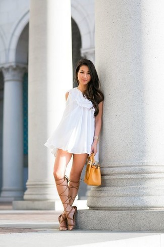 Women's White Ruffle Swing Dress, Brown Leather Knee High Gladiator Sandals, Mustard Leather Handbag