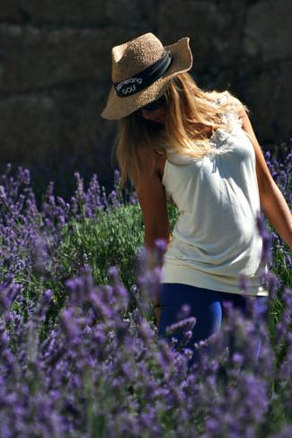 Women's White Ruffle Tank, Blue Skinny Jeans, Khaki Straw Hat