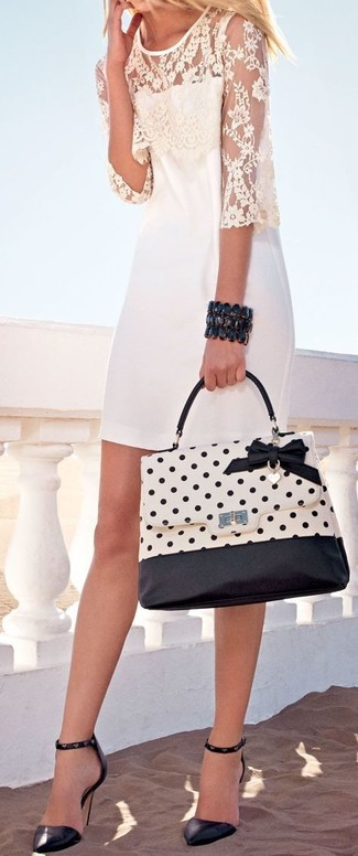 Black Bracelet Outfits: This combination of a white lace sheath dress and a black bracelet is a safe bet for a seriously cool getup. You can get a little creative with shoes and elevate this look by slipping into black studded leather pumps.