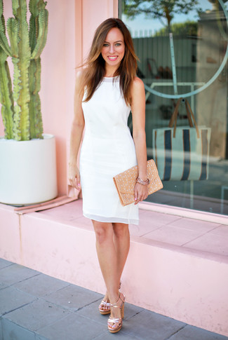 How to wear: white chiffon sheath dress, gold leather heeled sandals, tan leather clutch, gold bracelet