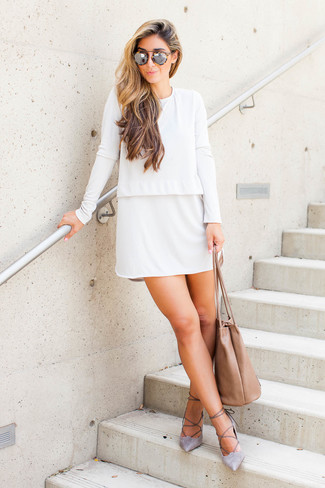 How to wear: white shift dress, grey suede pumps, tan leather tote bag, tan leopard sunglasses