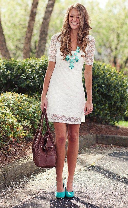 Women S White Lace Shift Dress Mint Leather Pumps Dark Brown Tote Bag Necklace Fashion