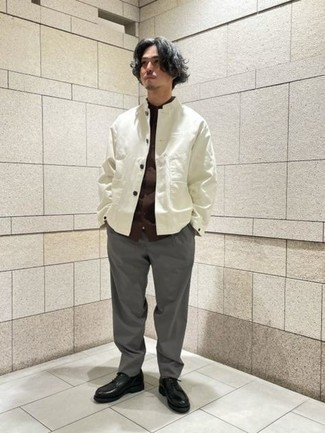 Shirt Jacket Outfits For Men: This getup with a shirt jacket and charcoal chinos isn't hard to score and easy to change. If you wish to effortlessly perk up this ensemble with one piece, why not complete your look with black leather derby shoes?
