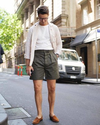 How to wear: white linen shirt jacket, white crew-neck t-shirt, olive shorts, tobacco suede loafers
