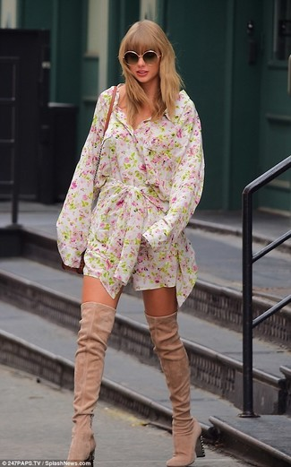 How to wear: white floral shirtdress, beige suede over the knee boots, tobacco leather crossbody bag, black sunglasses