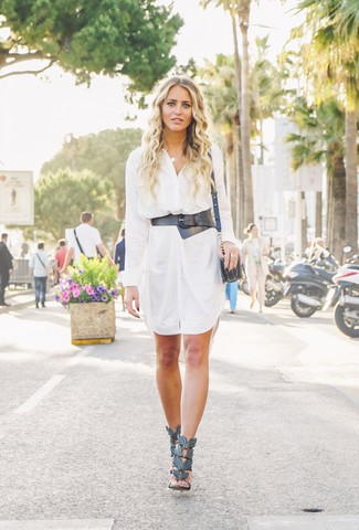 How to wear: white shirtdress, black leather heeled sandals, black leather crossbody bag, black leather waist belt