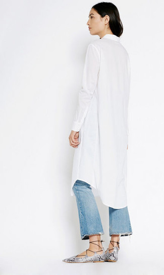 How to wear: white shirtdress, blue ripped flare jeans, grey snake leather gladiator sandals