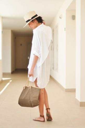 Hat Outfits For Women: This casual pairing of a white shirtdress and a hat is effortless, stylish and super easy to replicate! Introduce a pair of brown leather flat sandals to the mix and the whole look will come together.
