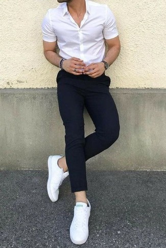 How to wear: white short sleeve shirt, black chinos, white leather low top sneakers, charcoal watch