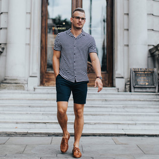How to wear: white horizontal striped short sleeve shirt, black shorts, brown leather derby shoes, dark brown leather watch