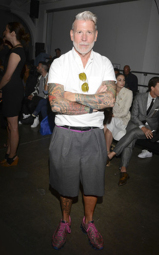 Nick Wooster wearing White Short Sleeve Shirt, Grey Shorts, Hot Pink Athletic Shoes
