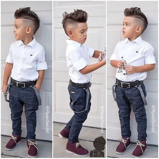 How to Wear a White Short Sleeve Shirt For Boys: Dress your child in a white short sleeve shirt and navy jeans for a dapper casual get-up. This getup is complemented nicely with burgundy desert boots.