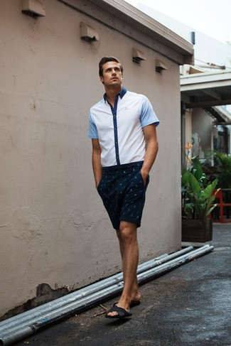 How to wear: white short sleeve shirt, navy print shorts, black leather sandals