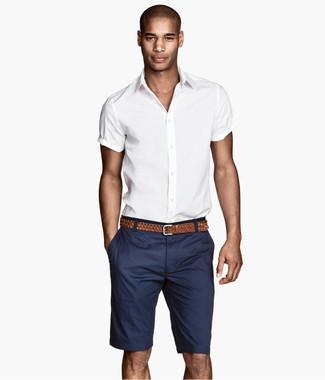 Men's White Short Sleeve Shirt, Navy Shorts, Brown Woven Leather Belt