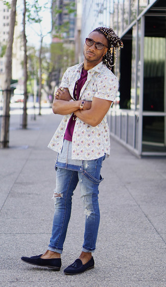 How to wear: white floral short sleeve shirt, purple crew-neck t-shirt, blue denim overalls, navy suede tassel loafers