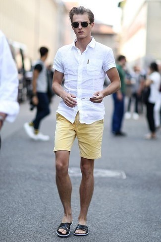 How to Wear Mustard Shorts For Men: If you're on a mission for a casual and at the same time stylish outfit, wear a white short sleeve shirt with mustard shorts. Introduce black leather sandals to the equation to keep the ensemble fresh. Men wondering how to wear cool off-duty style as you are making it through your teen years, this pairing should answer your question.