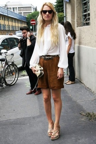 How to wear: white silk long sleeve blouse, brown bermuda shorts, beige leather wedge sandals