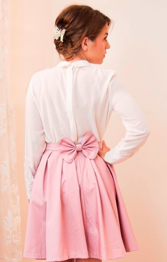 Women's White Silk Long Sleeve T-shirt, Pink Pleated Mini Skirt ...