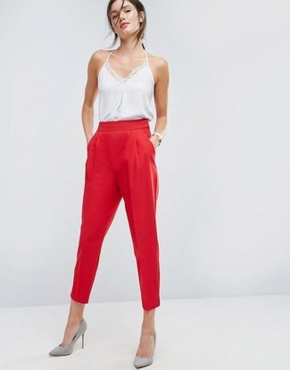 Grey Suede Pumps Outfits: If you're on the hunt for an off-duty yet totaly stylish outfit, try pairing a white silk tank with red tapered pants. Let your sartorial sensibilities really shine by rounding off this look with grey suede pumps.