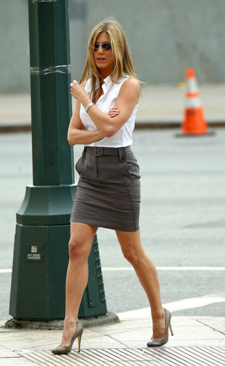 How to wear: white sleeveless button down shirt, charcoal pencil skirt, olive leather pumps