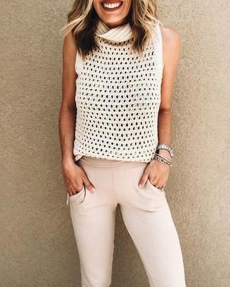 How to wear: white knit sleeveless top, beige sweatpants, silver bracelet, silver watch