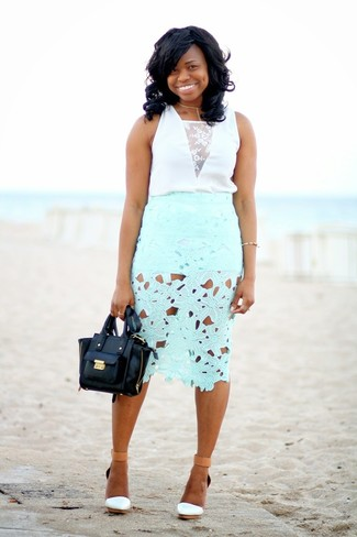 White and Black Lace Blouse Outfits: Go for a simple but neat and relaxed choice in a white and black lace blouse and a mint lace pencil skirt. And if you wish to instantly play down this ensemble with footwear, why not complete this getup with a pair of white leather wedge sandals?