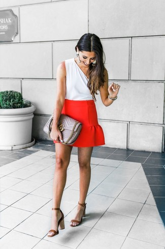 How to wear: white sleeveless top, red mini skirt, brown leather heeled sandals, grey quilted leather satchel bag