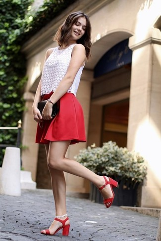 How to wear: white lace sleeveless top, red skater skirt, red leather heeled sandals, black leather clutch