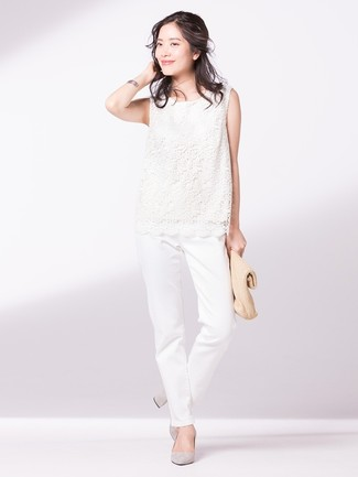 Wear a white lace shell top with white chino pants for a lazy day look. Choose a pair of grey suede pumps to instantly up the chic factor of any outfit.