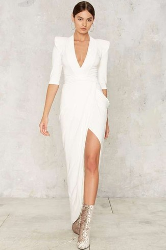 How to wear: white slit evening dress, silver suede lace-up ankle boots