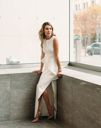 How to wear: white slit evening dress, tan leather pumps, silver watch