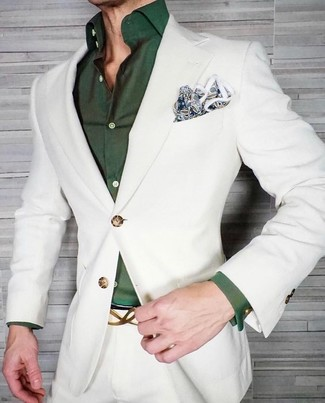How to wear: white suit, dark green dress shirt, blue paisley pocket square