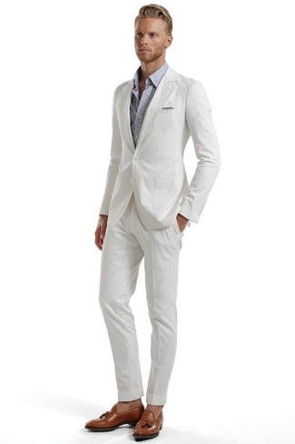 How to wear: white seersucker suit, grey paisley long sleeve shirt, brown leather tassel loafers, grey pocket square