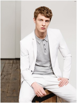 How to wear: white suit, grey polo